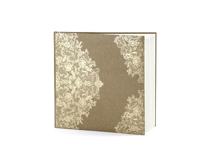 Kniha hostí hnedá kraft so zlatým vzorom - Obrázok č. 3
