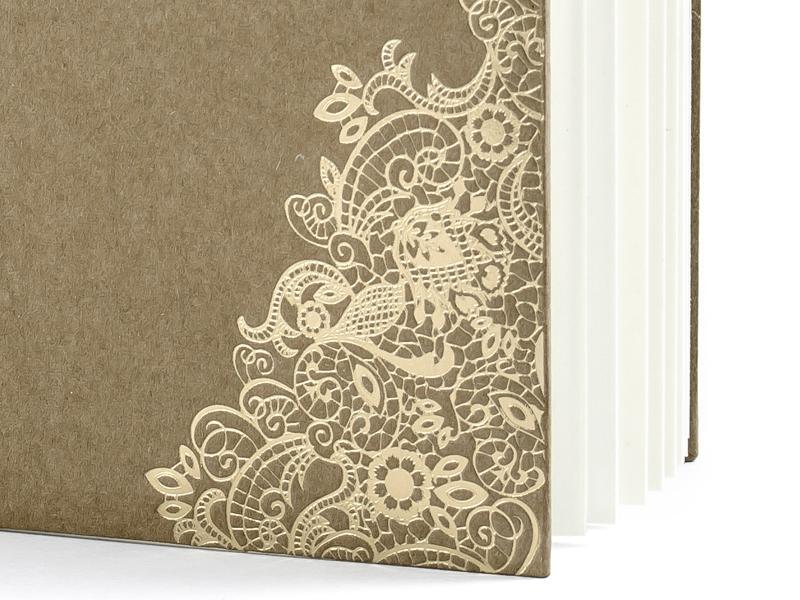 Kniha hostí hnedá kraft so zlatým vzorom - Obrázok č. 4