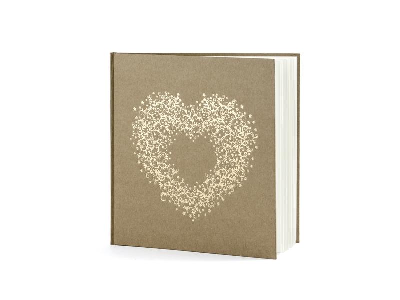 Kniha hostí hnedá kraft so zlatým srdcom - Obrázok č. 2