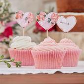 Zápichy na cupcakes/muffiny 10ks srdce v štýle boh,