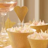 Zápichy na cupcakes/muffiny 10ks zlaté srdce,