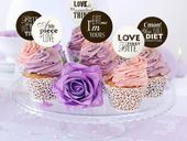 Zápichy na cupcakes/muffiny 6ks s textom,
