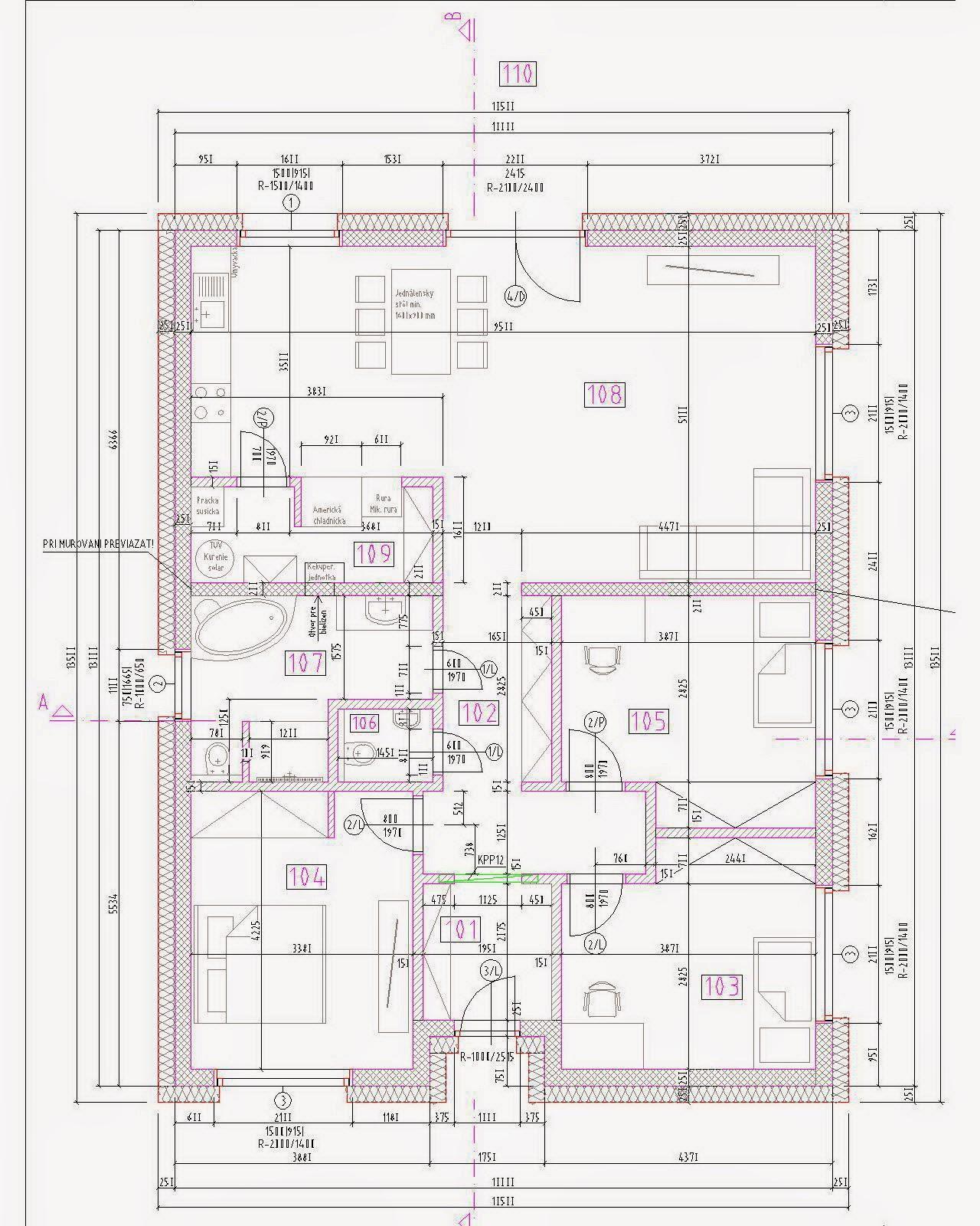 Raciodom - Kompaktný a jednoduchý pôdorys rodinného domu. Nosné sú iba obvodové múry. Krov bude väzníkový