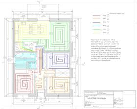 Návrh podlahového vykurovania by Domino. Snahou bolo voliť približne rovnaké dĺžky jednotlivých okruhov a jednotlivé okruhy do max. 100 m.