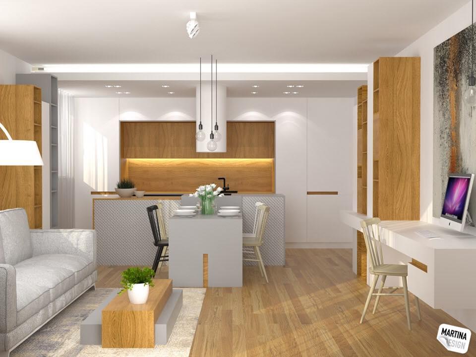 Vizualizace interiéru s obrazem (autor návrhu - studio Martina Design) - Obraz ve vizualizaci interiéru obývacího pokoje spojeného s kuchyní a pracovním koutem (autor návrhu: studio Martina Design)