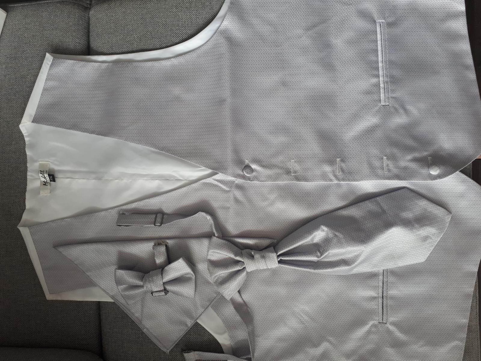 Panska vesta 2XL + kravata + motylik + vreckovka - Obrázok č. 2