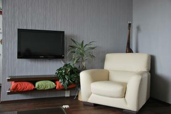 Televizní stěna ( až vybereme definitivně barvu na protější stěnu, tak udělám nové povlaky na polštářky)