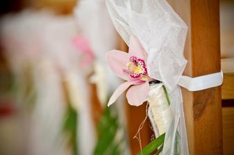 mašle s orchideou na laviciach v kostole