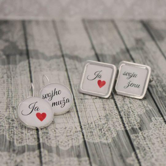 simka_manzetkova - Set náušníc a manžetových gombíkov pre novomanželov