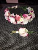 Věneček a korsáž - umělé květy,
