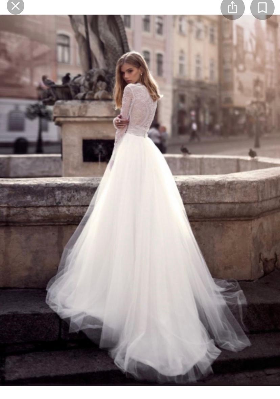 svadobné šaty s dlhým rukávom farba ivory - Obrázok č. 1