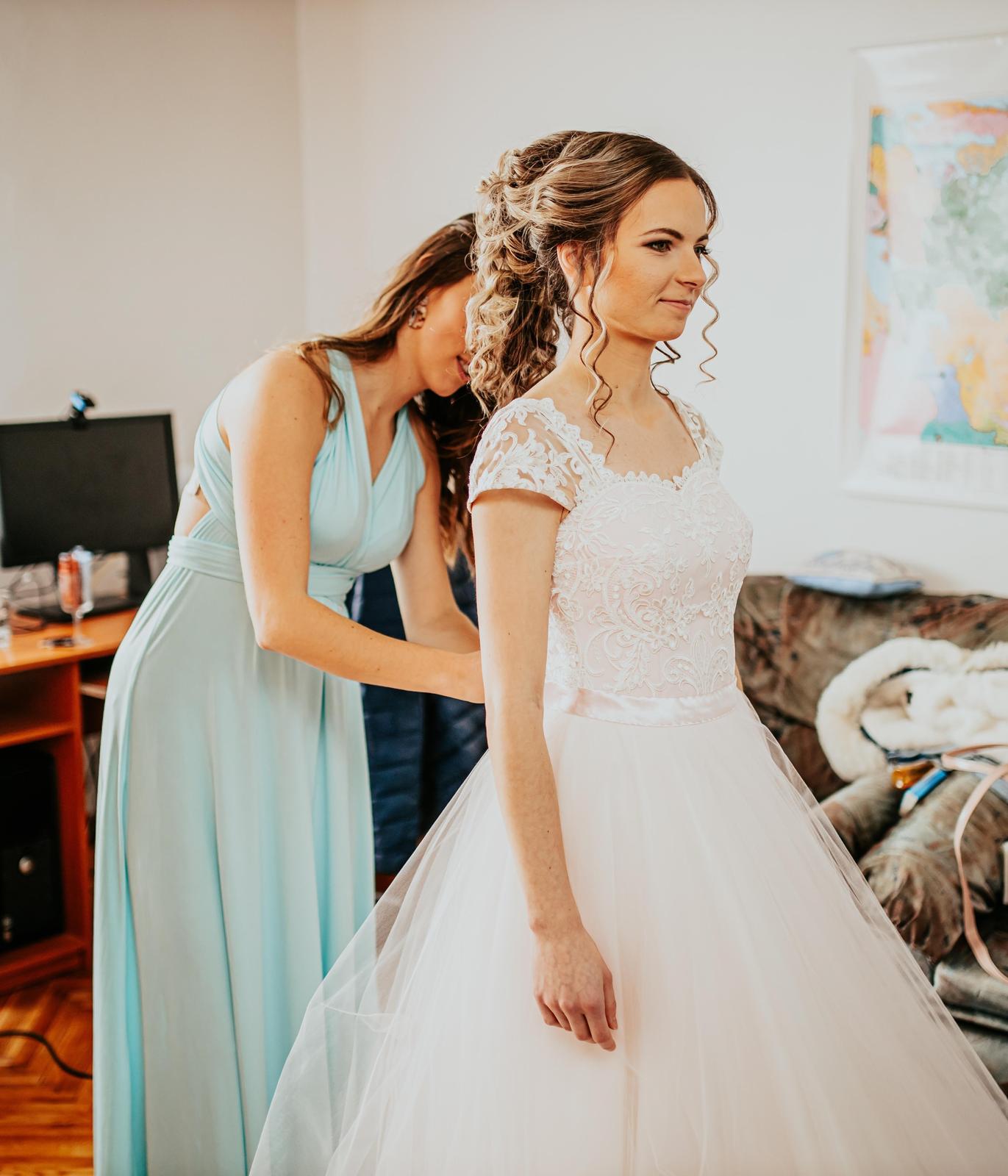 Svadobné šaty jemne ružovej farby (34-38) - Obrázok č. 2