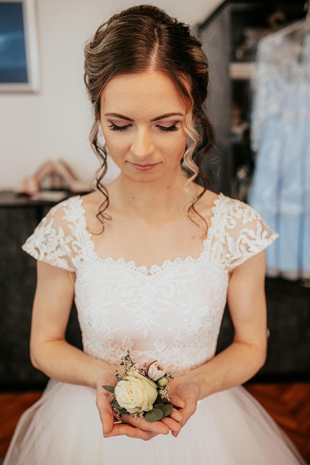 Svadobné šaty jemne ružovej farby (34-38) - Obrázok č. 1
