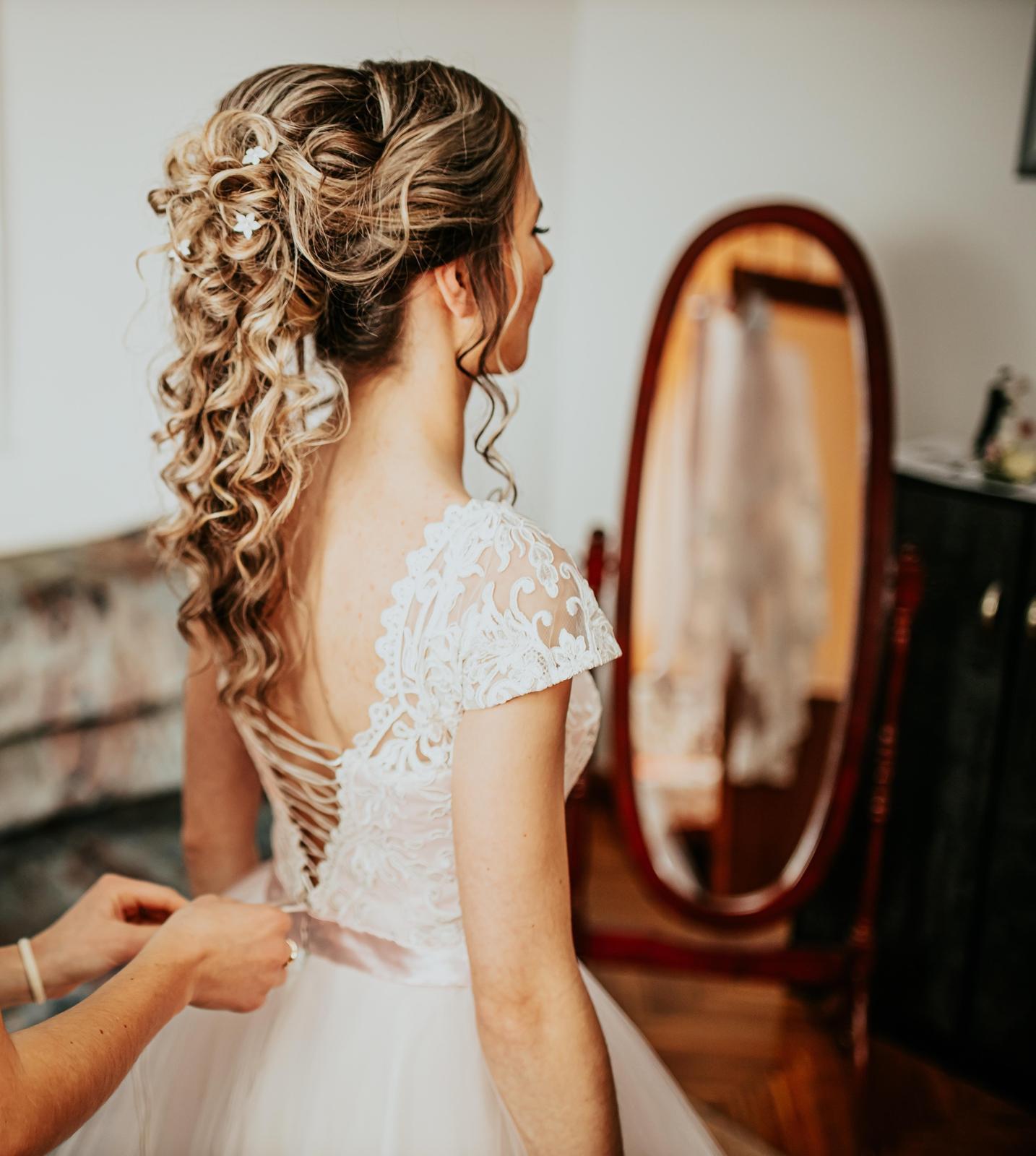 Svadobné šaty jemne ružovej farby (34-38) - Obrázok č. 3