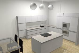 Takže takhle bude vypadat naše kuchyň, jen spodní skříňky budou skoro všechny s výsuvy , aby na sebe navazovaly.Program to neuměl. :-))