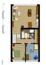 První patro (1.řešení obýváku a kuchyně)
