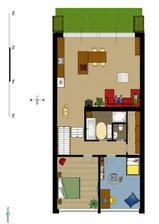První patro (2..řešení obýváku a kuchyně)