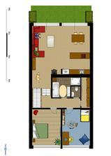 První patro (3.řešení obýváku a kuchyně)