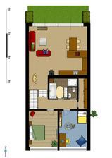 První patro (5.řešení obýváku a kuchyně)