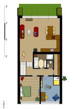 První patro (6.řešení obýváku a kuchyně)