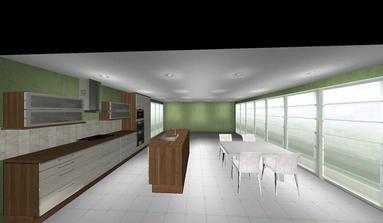 Druhý návrh dispozice s ostrůvkem ve kterém je zabudován dřez
