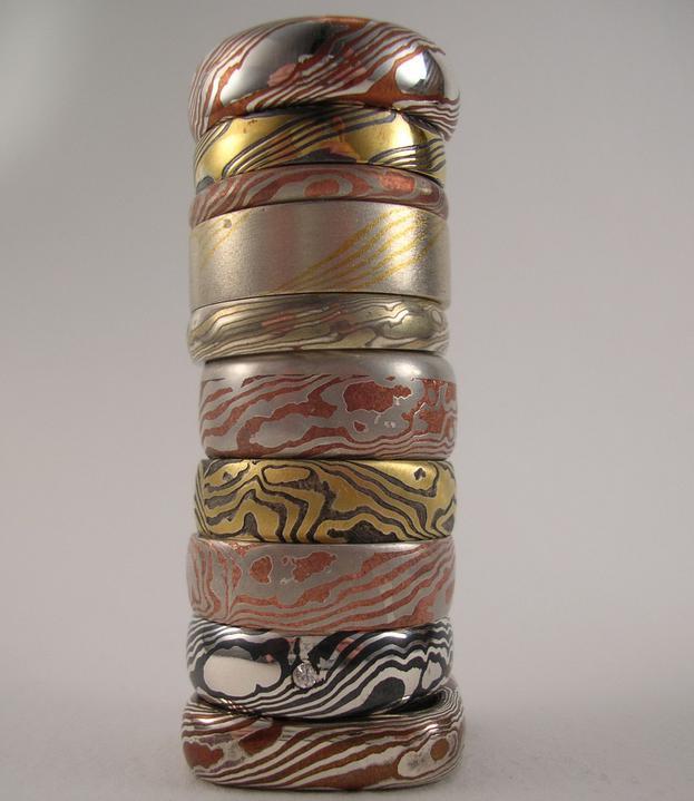 Obrucky - mokume ring stack