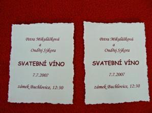 už jsou vyrobeny i etiketky na vínko:-)