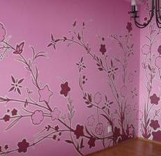 wallpainting s floral motívom