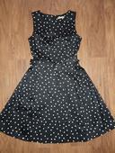 čierne bodkové šaty, XS
