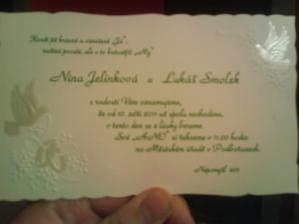 Naše svatební oznámení:-) Líp to vyfotit nelze...