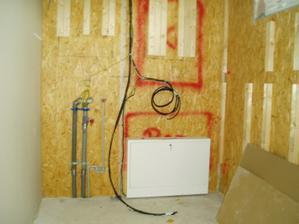 technická místnost a příprava na předstěnu a montáž kotle a bojleru