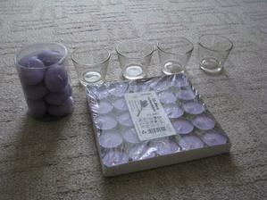 plovoucí a čajové svíčky a svícínky na čajovky - s vůní levandule... - ještě přibydou bílé...