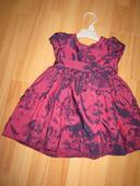 Saténové šaty vínové pre malú princeznú, 68