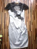 Sivé večerné šaty s čipkou, 36