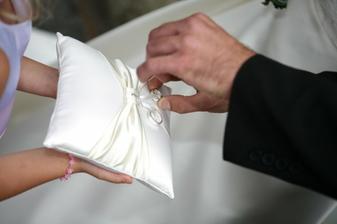 náš nádherný polštářek na prstýnky od Tani-Tania, děkuji