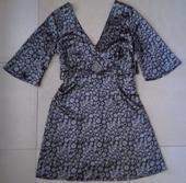 Elegantné saténové hnedo-biele šaty č. 36-38, 38