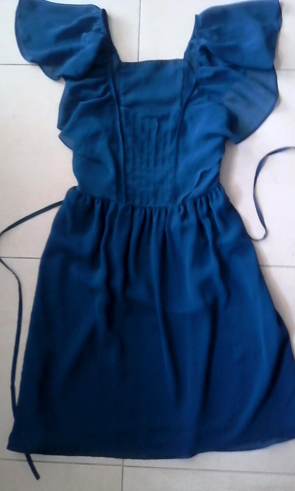 Modré spoločenské šaty č. 34 - 36 - Obrázok č. 3