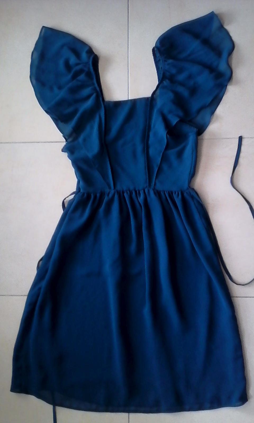 Modré spoločenské šaty č. 34 - 36 - Obrázok č. 2