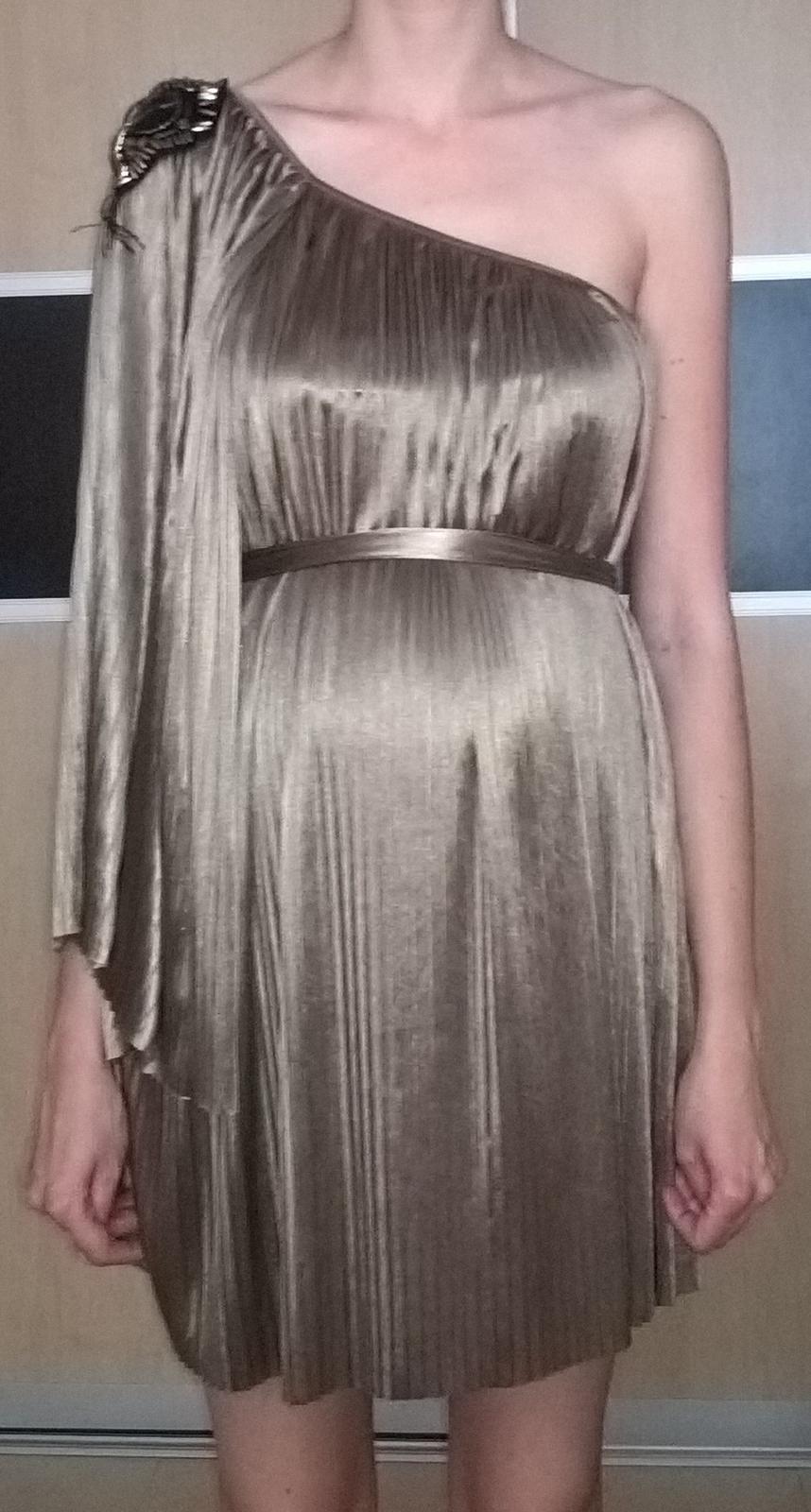 elegantné plisované svetlohnedé šaty 38 - 40 - Obrázok č. 1