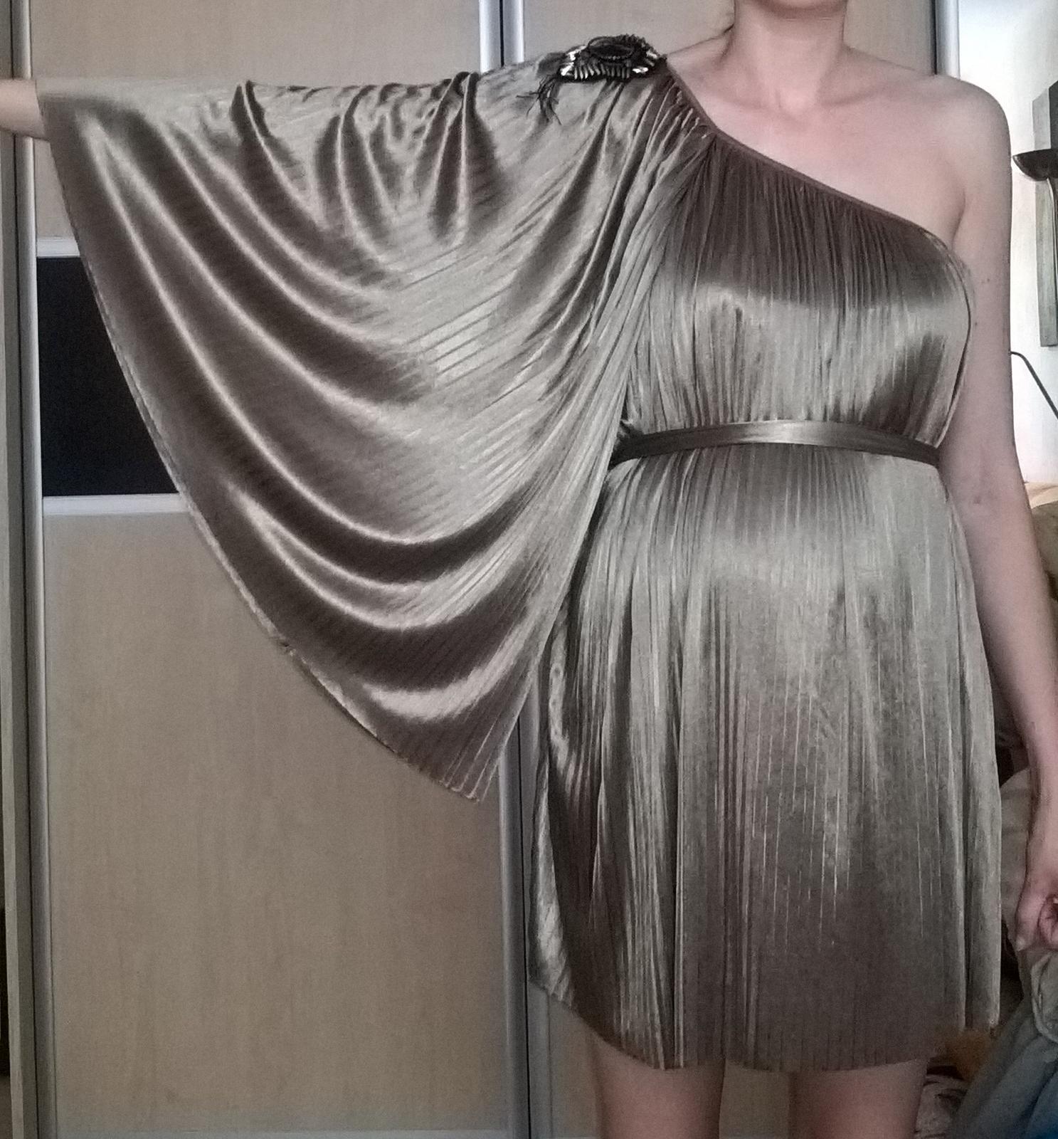 elegantné plisované svetlohnedé šaty 38 - 40 - Obrázok č. 2
