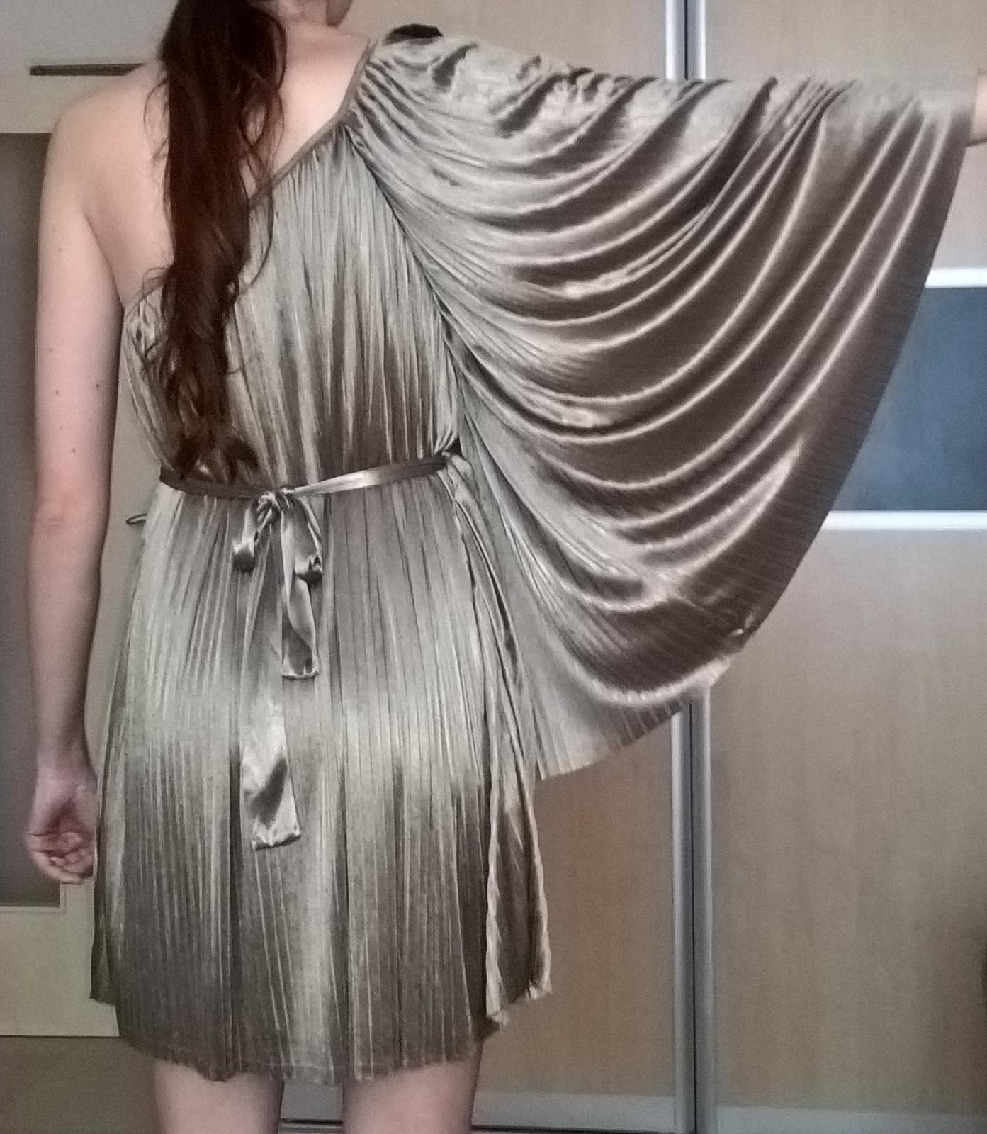 elegantné plisované svetlohnedé šaty 38 - 40 - Obrázok č. 4