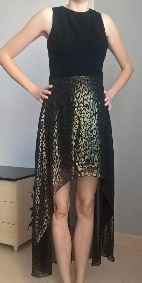 čierno zlaté spoločenské šaty č. 36 - 38 - Obrázok č. 1