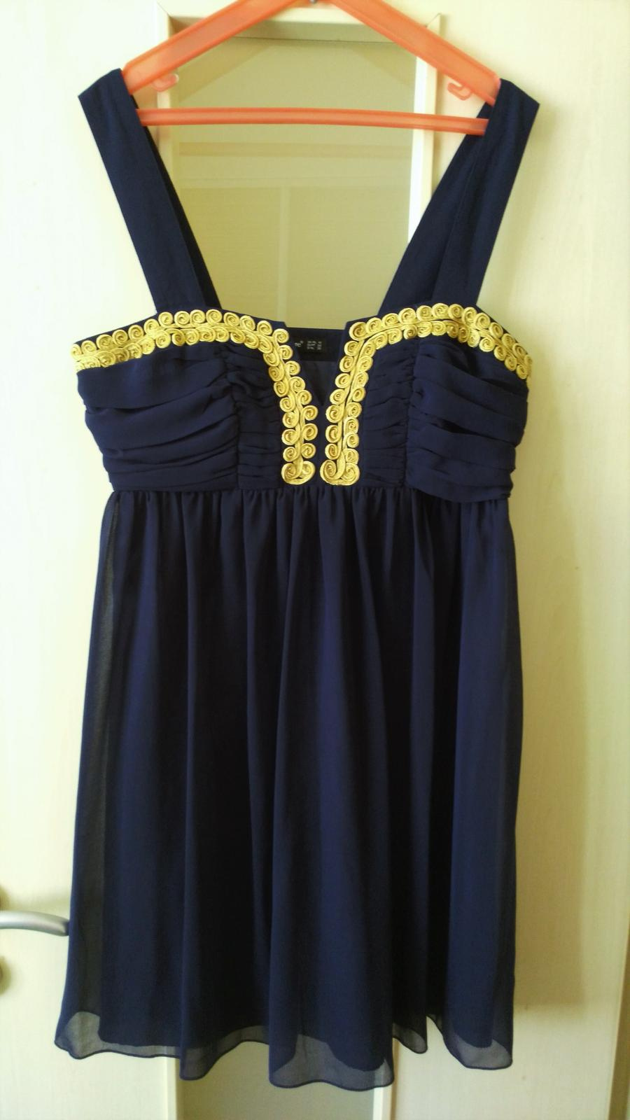 Tmavomodré elegantné šaty č.38 (M) - Obrázok č. 1