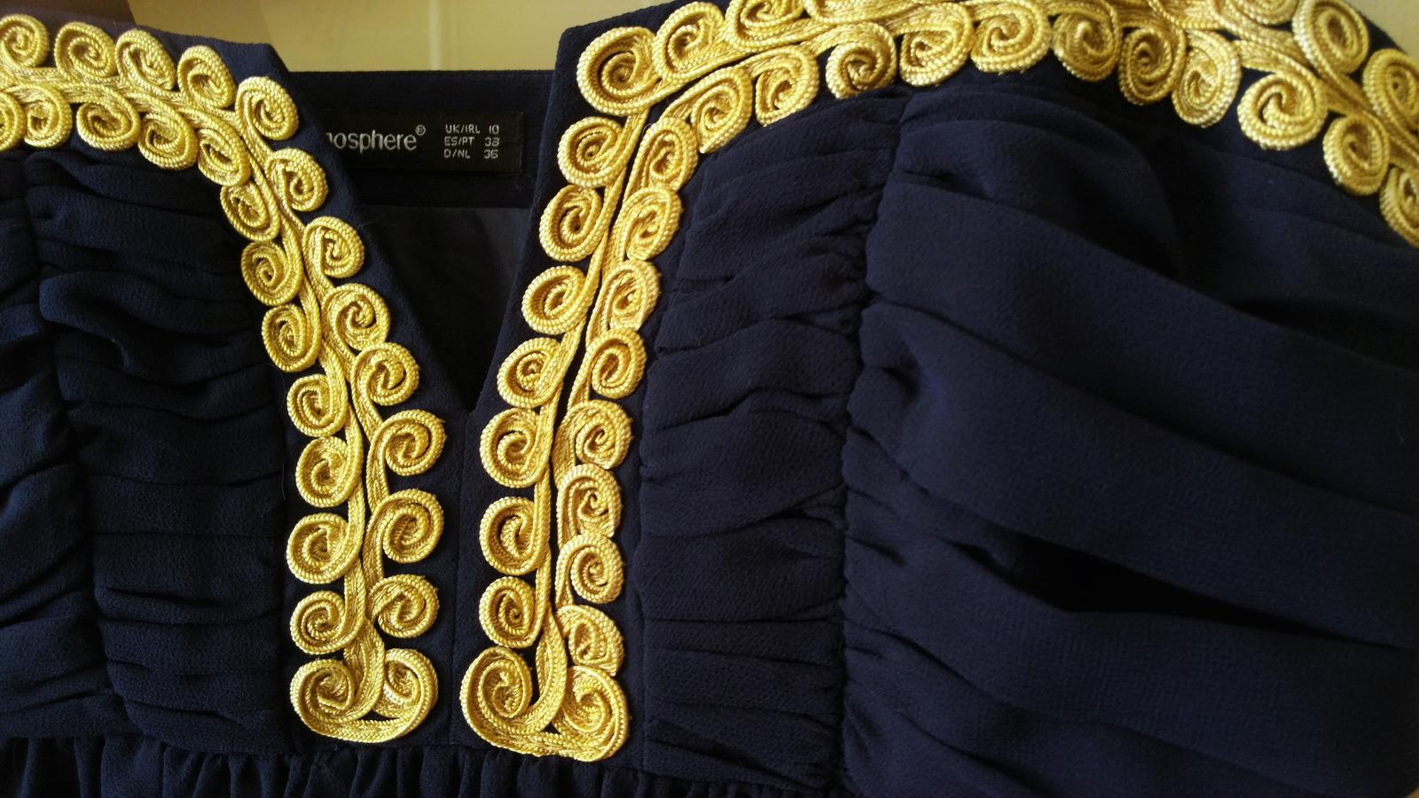 Tmavomodré elegantné šaty č.38 (M) - Obrázok č. 2