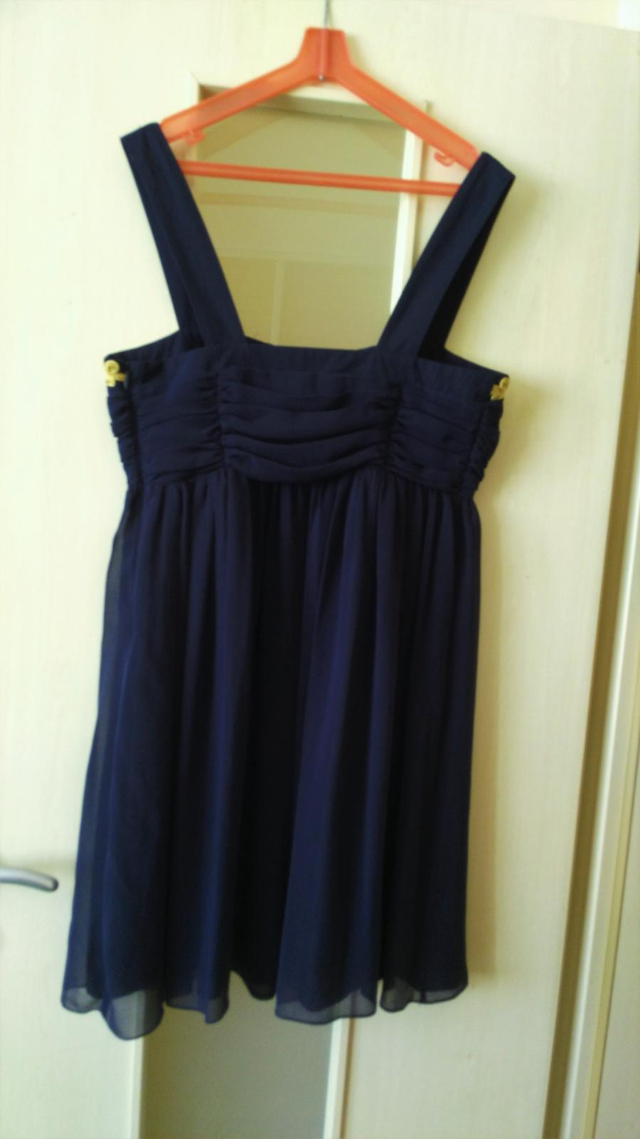 Tmavomodré elegantné šaty č.38 (M) - Obrázok č. 3