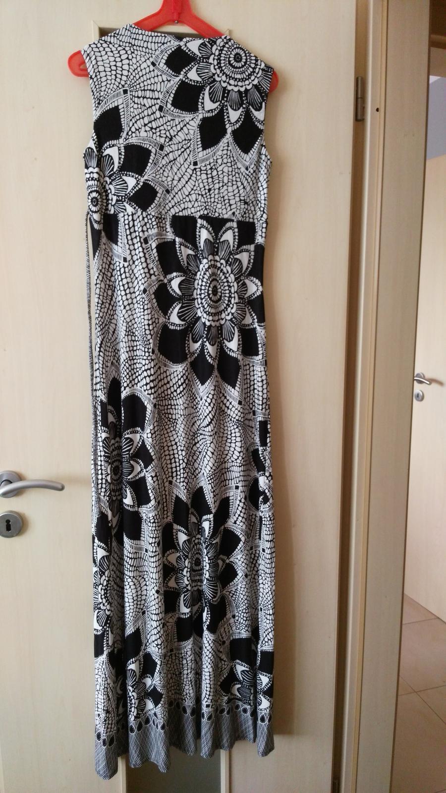Dlhé čiernobiele šaty 36-38 (S-M) - Obrázok č. 3