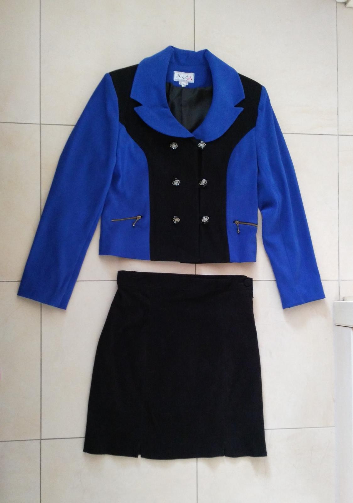 Čierno-modrý kostým sako + sukňa 38 (M) - Obrázok č. 1
