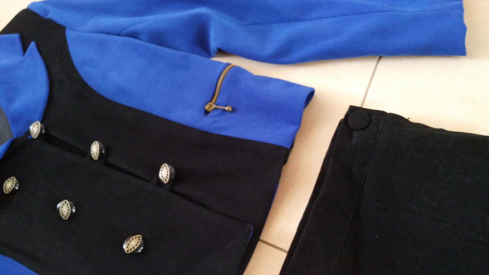 Čierno-modrý kostým sako + sukňa 38 (M) - Obrázok č. 2