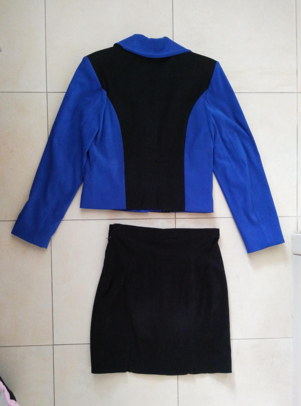 Čierno-modrý kostým sako + sukňa 38 (M) - Obrázok č. 3