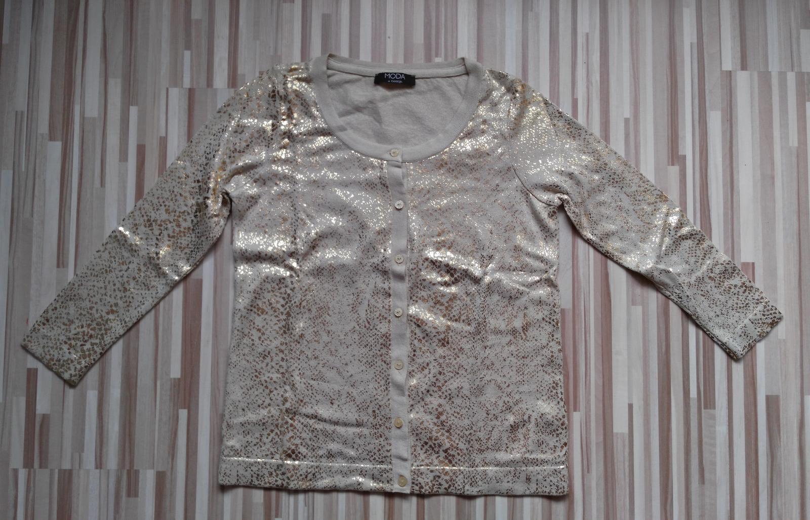 Béžovo-zlatý sveter 38-40 (M-L) - Obrázok č. 4